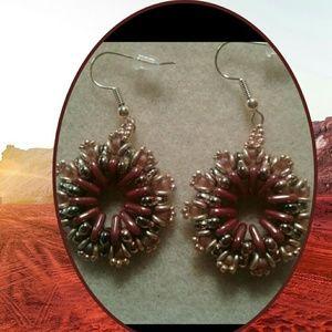 """Jewelry - """"Golden topaz"""" trinity beaded hoop earrings"""